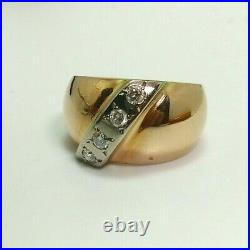 Vintage 583 14K Gold Russian Soviet Women's Ring Set With Natural Diamonds