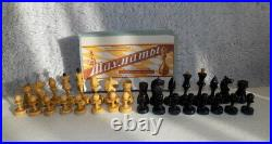 Vintage USSR 1950's Chess Set, wooden, Kings stand 8cm/3 inch with box