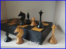 Wooden old chess set 1960s made vintage USSR chessmen pieces soviet