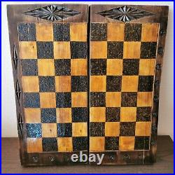 Wooden vintage 60s hand carved soviet chess set USSR russian antique chess