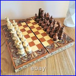 Wooden vintage hand carved soviet chess set USSR russian antique chess