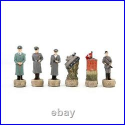 World War 2 Soviet vs Germany Theme Chess Set leather Chess Board Carving Chess